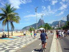 A beautiful day enjoyed by Ipanema beach goers in Rio de Janeiro, Brazil