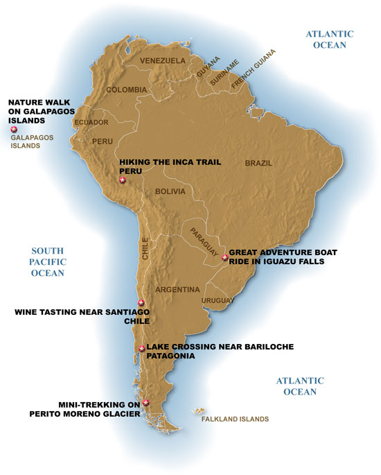South America Best Excursions Map
